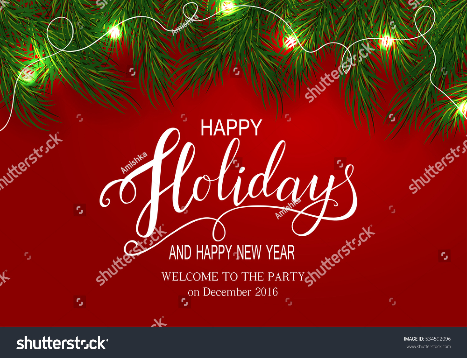 Holidays Greeting Card Winter Happy Holidays Stock Vector Royalty