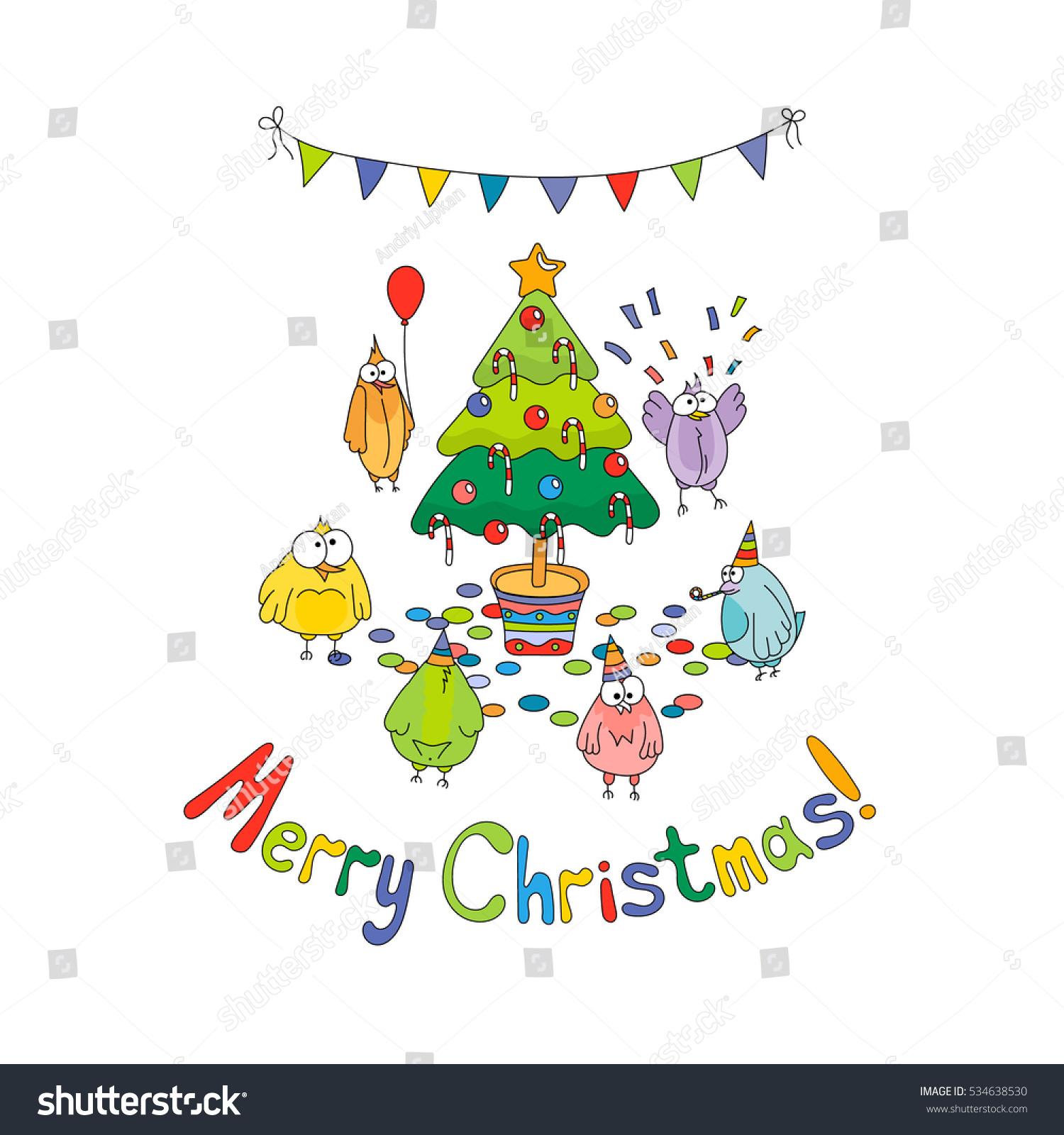 Merry Christmas Greeting Card White Cartoon Stock Vector (Royalty ...