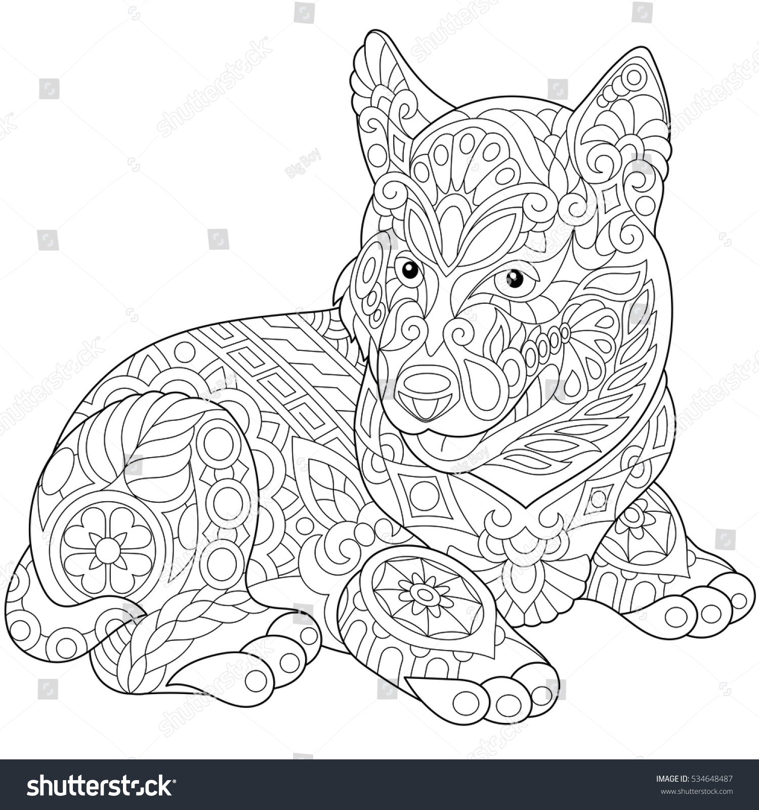coloring page of husky puppy dog symbol of 2018 chinese new year freehand sketch