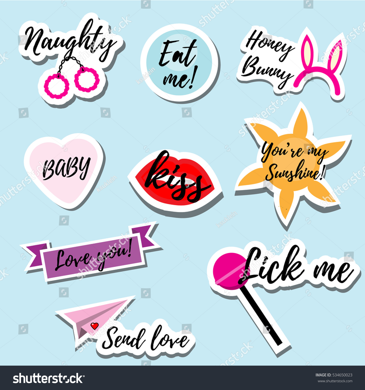Trendy Fashionable Pins Patches Badges Stickers Stock Vector