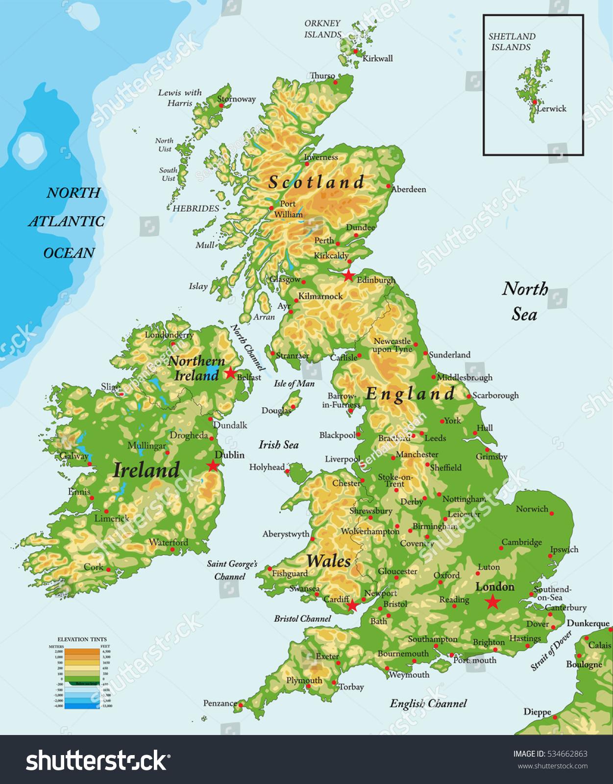 Cartina Gran Bretagna Fisica.Immagine Vettoriale Stock 534662863 A Tema Regno Unito E Irlanda Mappa Fisica Royalty Free