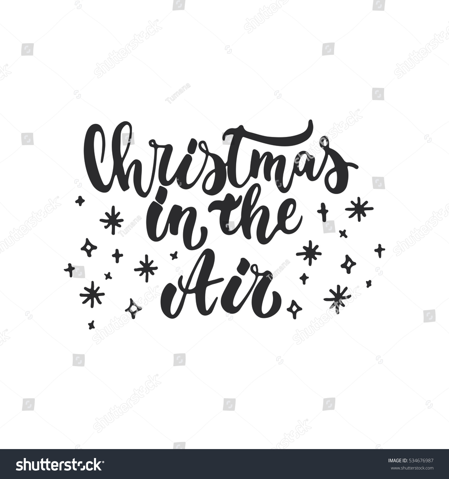 Christmas In The Air.Christmas Air Lettering Christmas New Year Stock