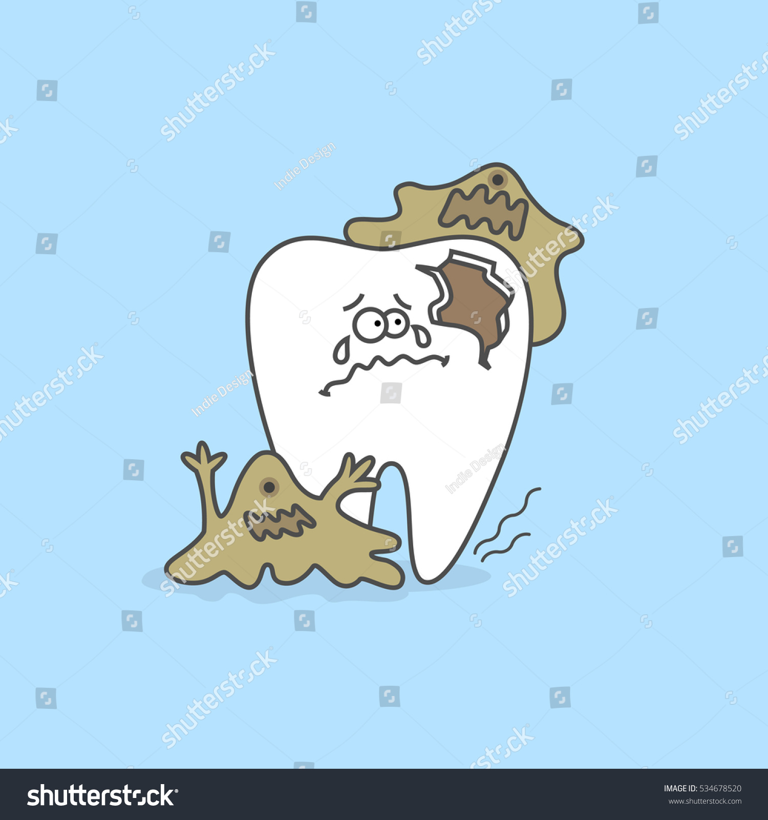 Cartoon tooth with caries and bacteria Dental care concept and hygiene