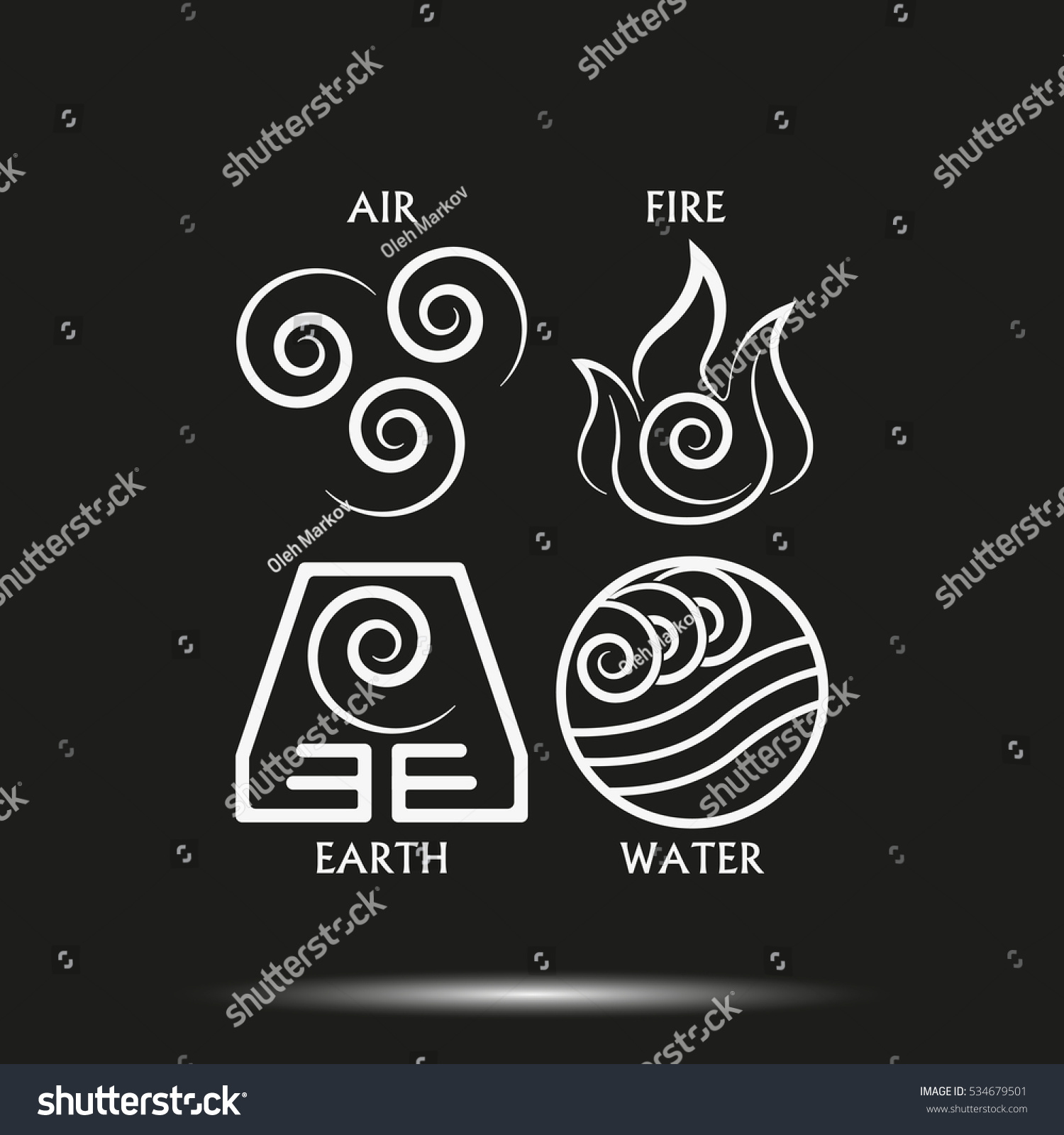 Ancient symbols four elements subscribe vector stock vector ancient symbols of four elements with subscribe vector icon isolated on black background buycottarizona Images