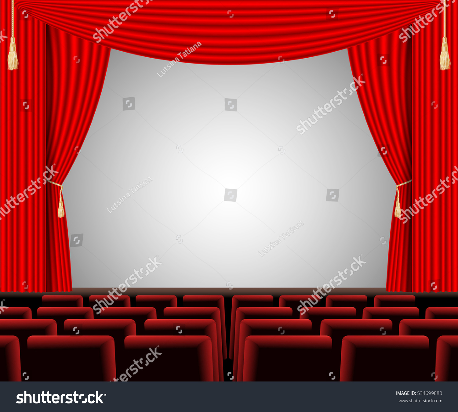 Empty stage curtains with lights - Empty Stage With Red Curtain And Empty Auditorium Poster For Concert Party Theater