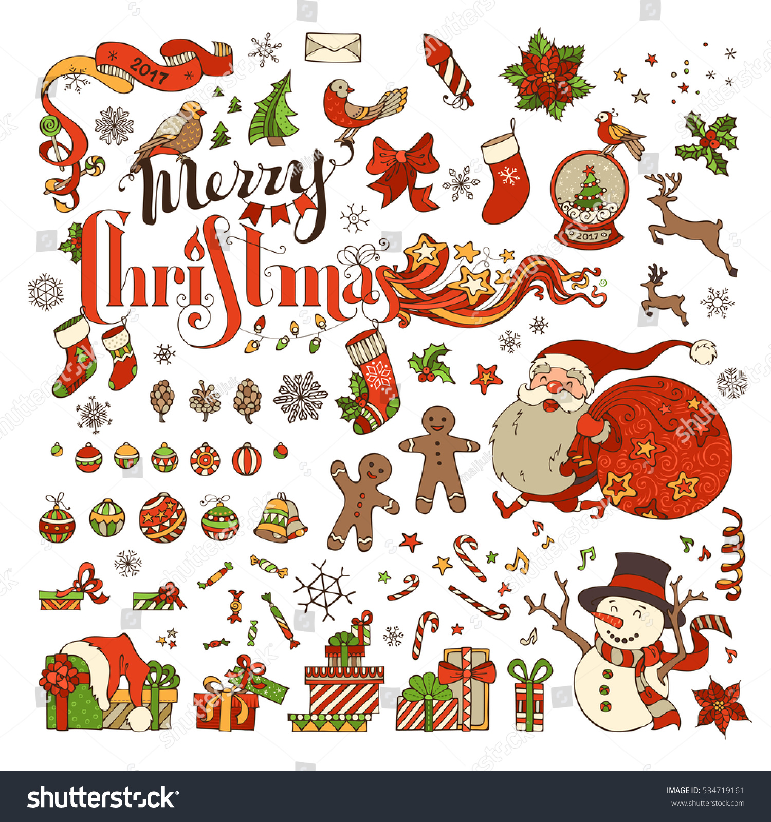 Vector Set Merry Christmas Symbols Decorations Stock Vector Royalty
