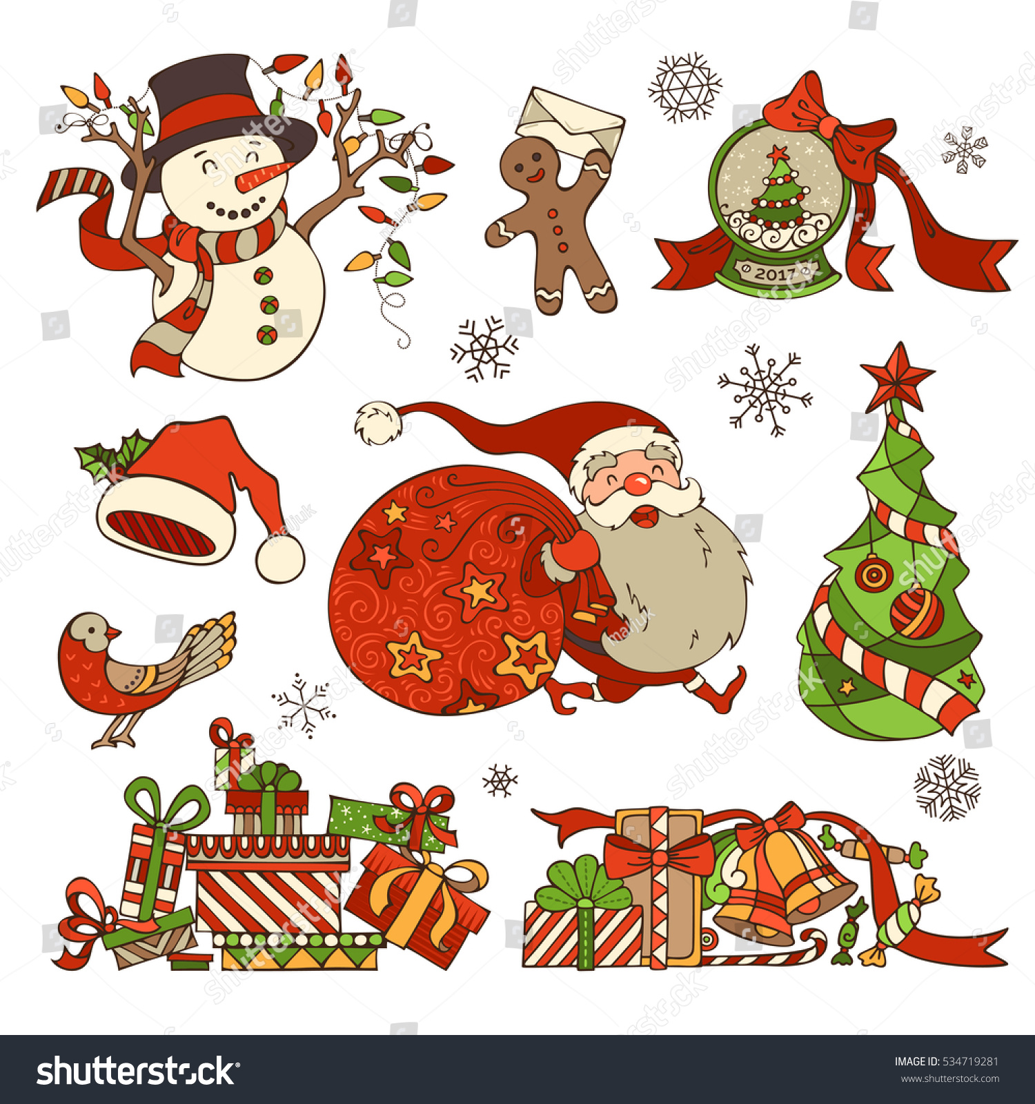 vector set of merry christmas decorations and design elements isolated on white background christmas tree