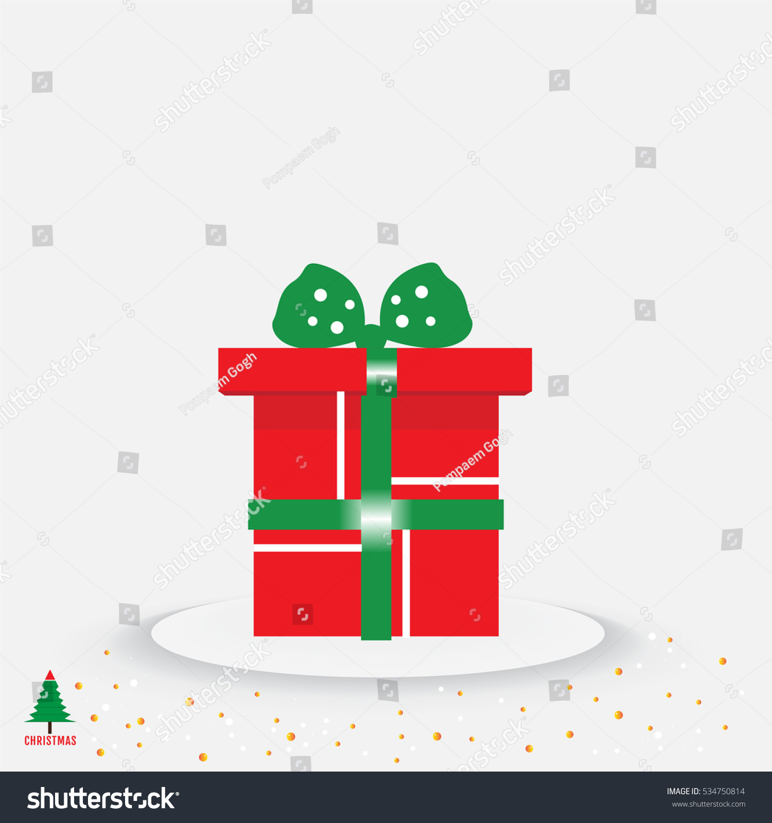 Christmas Tree And Present With Green Ribbon Bow On White