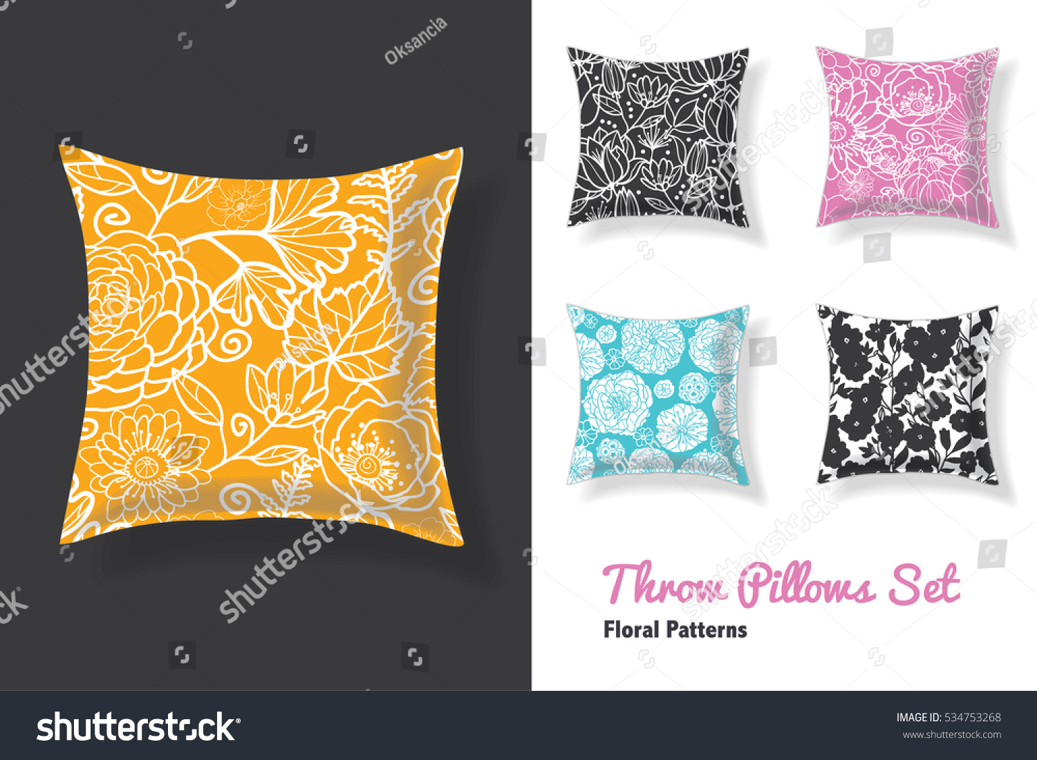 set throw pillows matching unique floral stock vector   - set of throw pillows in matching unique floral seamless patterns squareshape editable vector