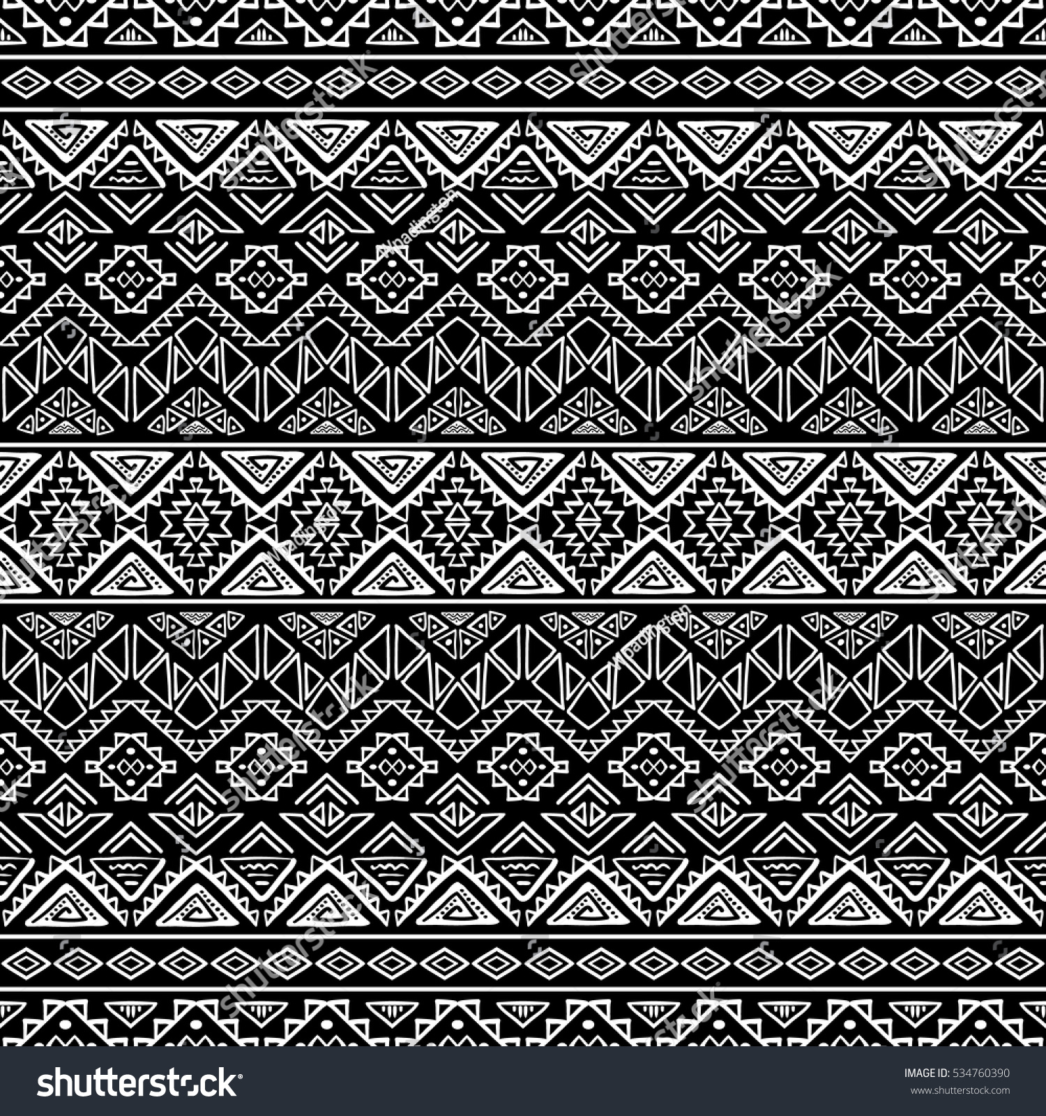 Black And White Seamless Pattern With Tribal Aztec Ornament Hand Drawn Boho Wallpaper