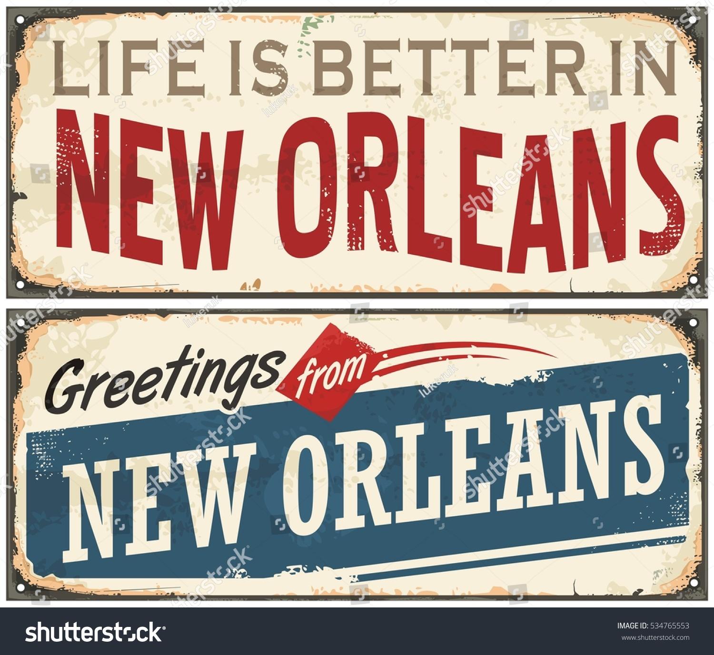 New Orleans Florida Retro Tin Sign Stock Vector Royalty Free