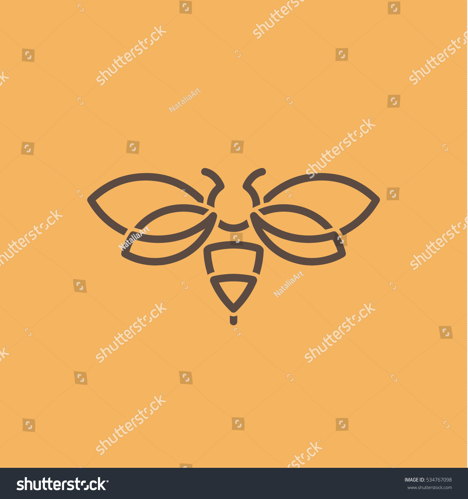 Insect wasp illustration logos style modern stock vector for Minimal art vector