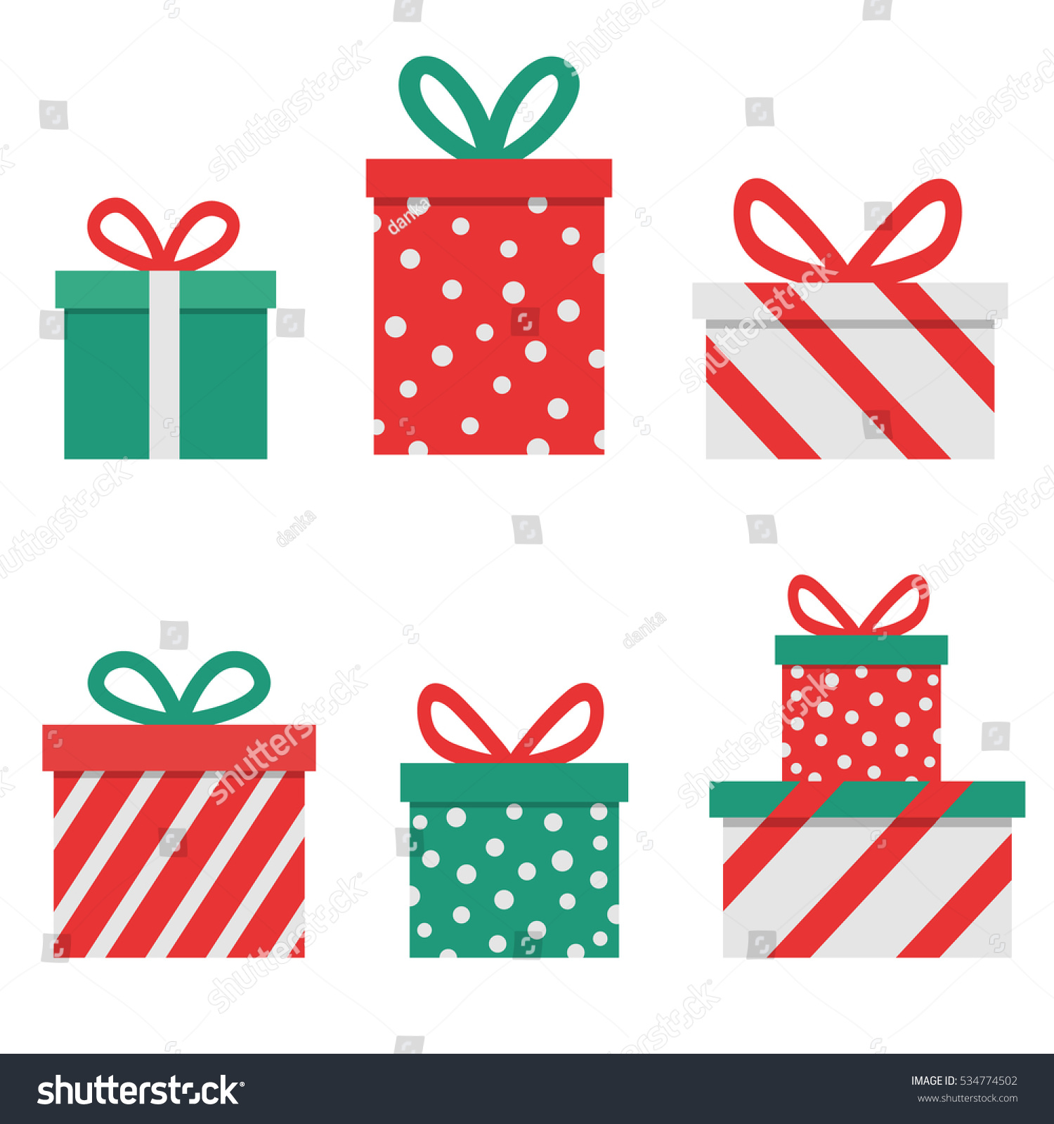 Red Christmas Presents On Clear White Stock Vector (Royalty Free ...