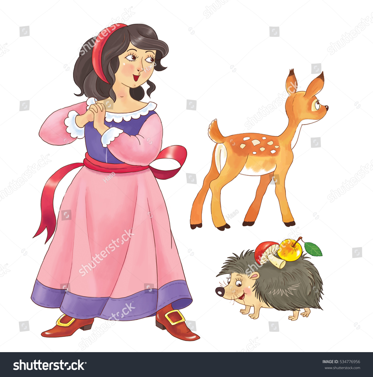 Snow White Fairy Tale Cute Snow Stock Illustration - Royalty Free ...