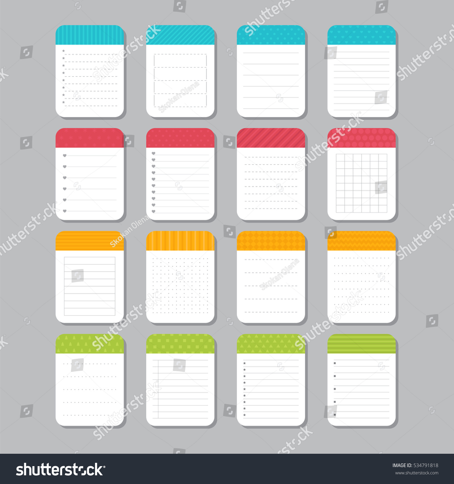 Sheets Paper Collection Various Note Papers Stock Vector Royalty