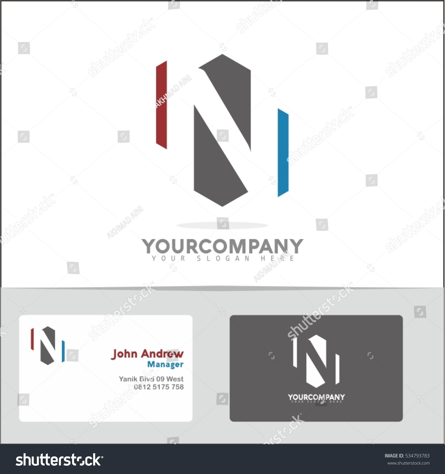 Logo design element two business cards stock vector 534793783 logo design element with two business cards letter n vector logo symbol in the red magicingreecefo Image collections