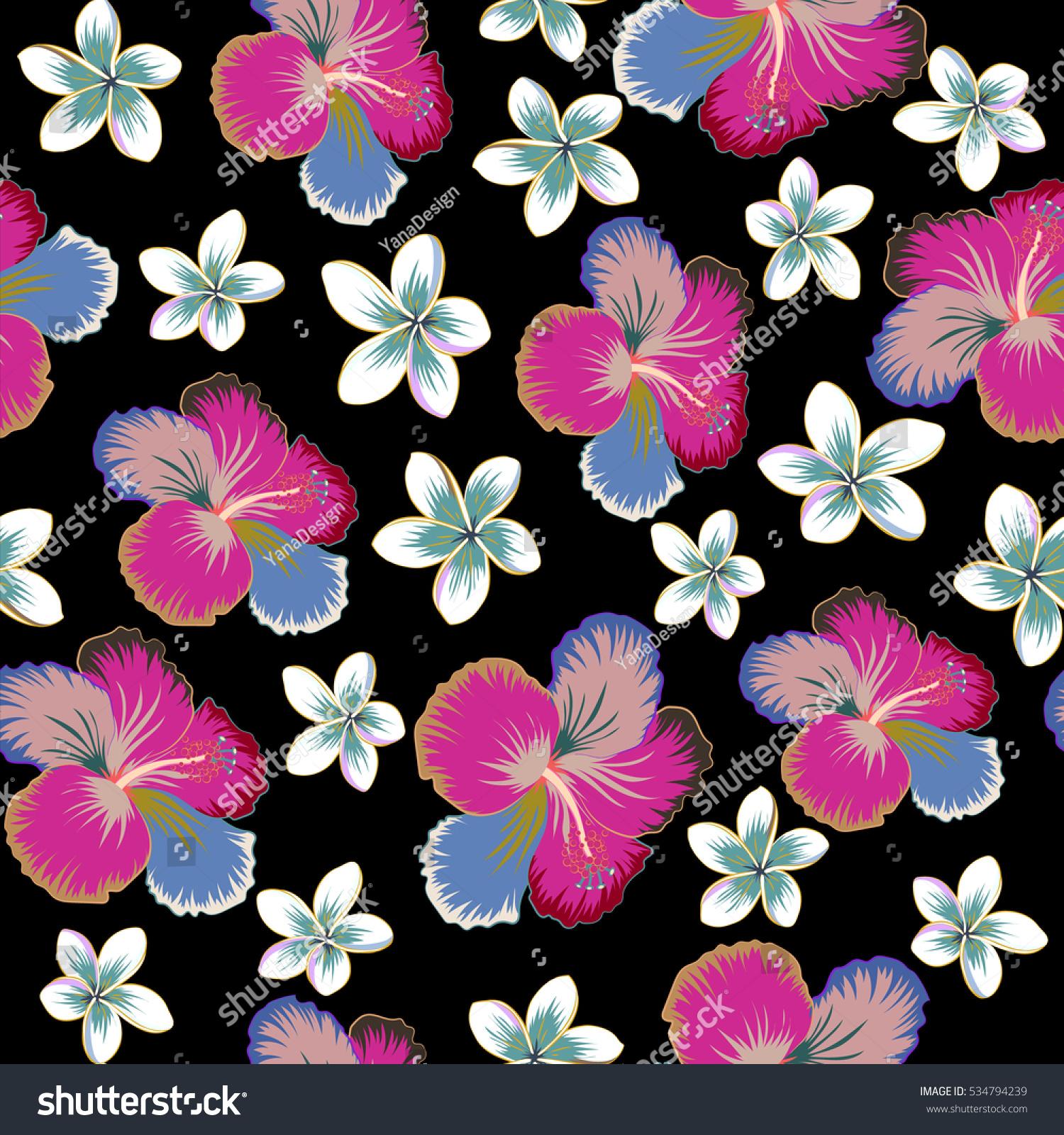 Various hibiscus hawaiian tropical flowers in neutral blue and various hibiscus hawaiian tropical flowers in neutral blue and beige colors on a black background floral seamless pattern ez canvas izmirmasajfo