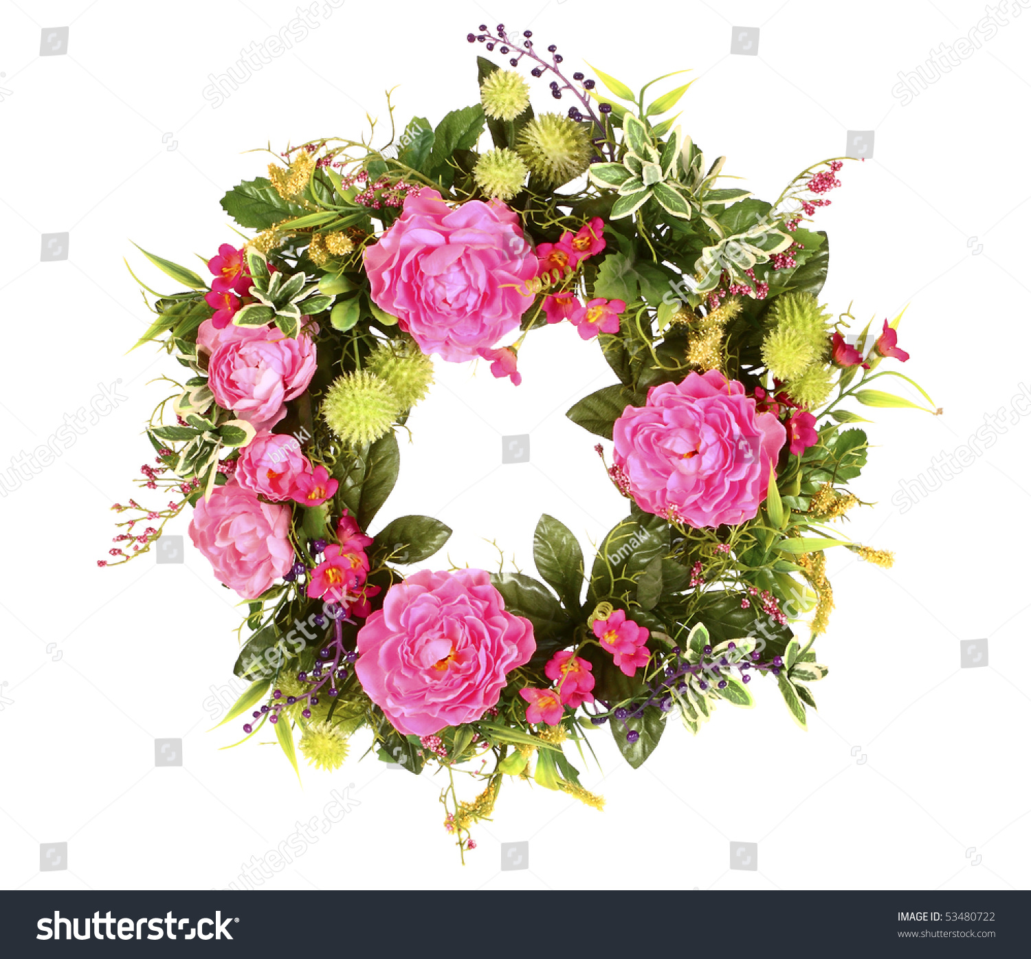 Beautiful Flower Wreath Colorful Blooming Flowers Stock Photo Edit