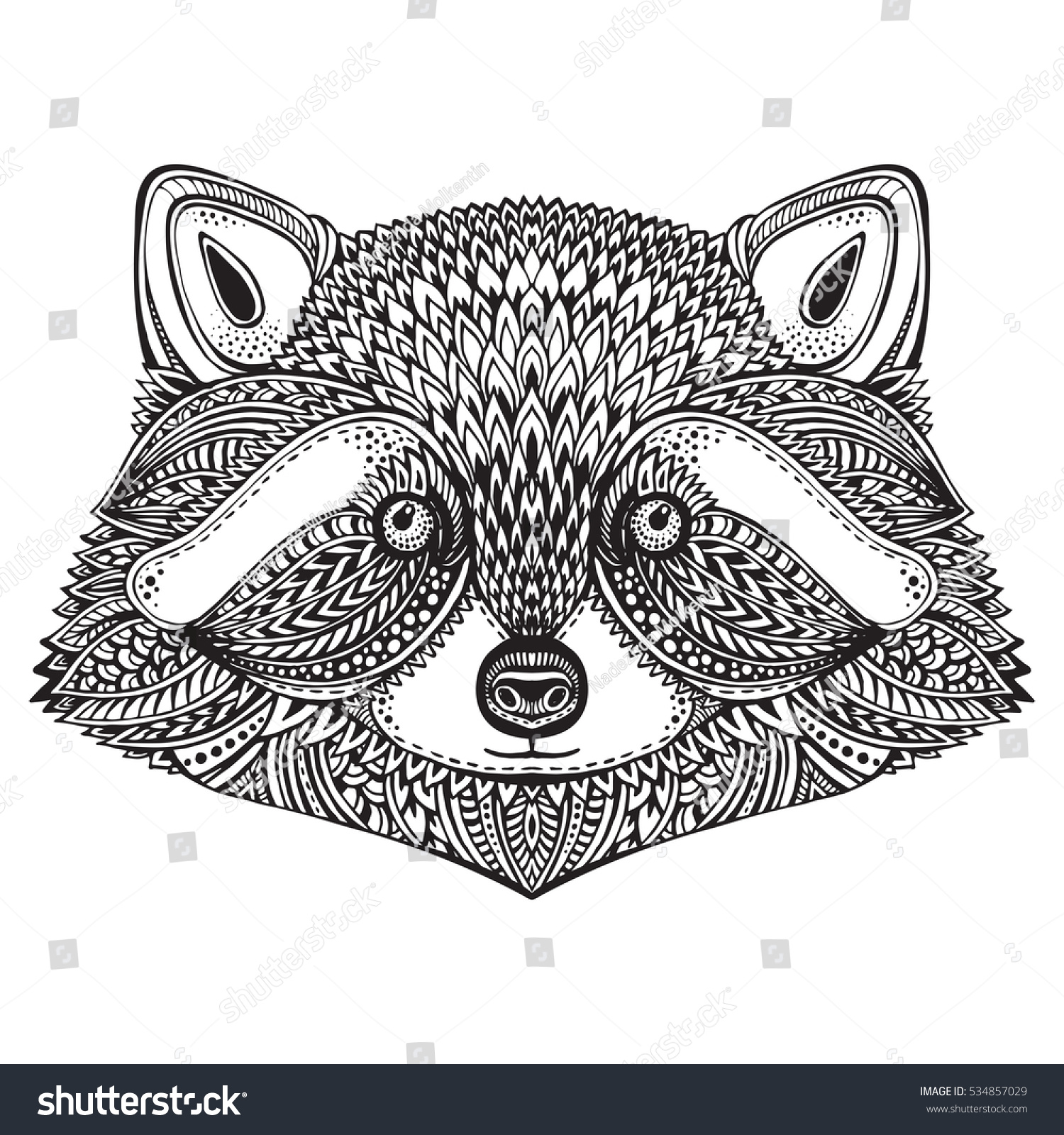 hand drawn raccoon face doodle ornate stock vector 534857029