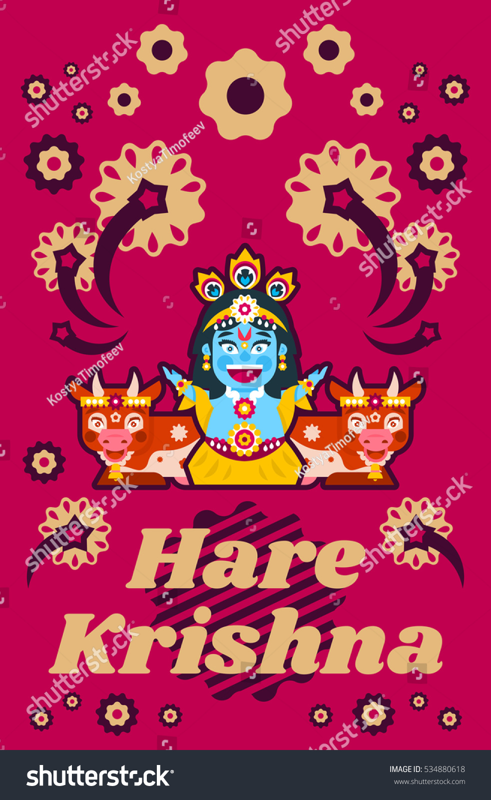 Creative poster illustration on hare krishna stock vector 534880618 creative poster illustration on hare krishna lord krishna sitting in cows environment decorations kristyandbryce Gallery