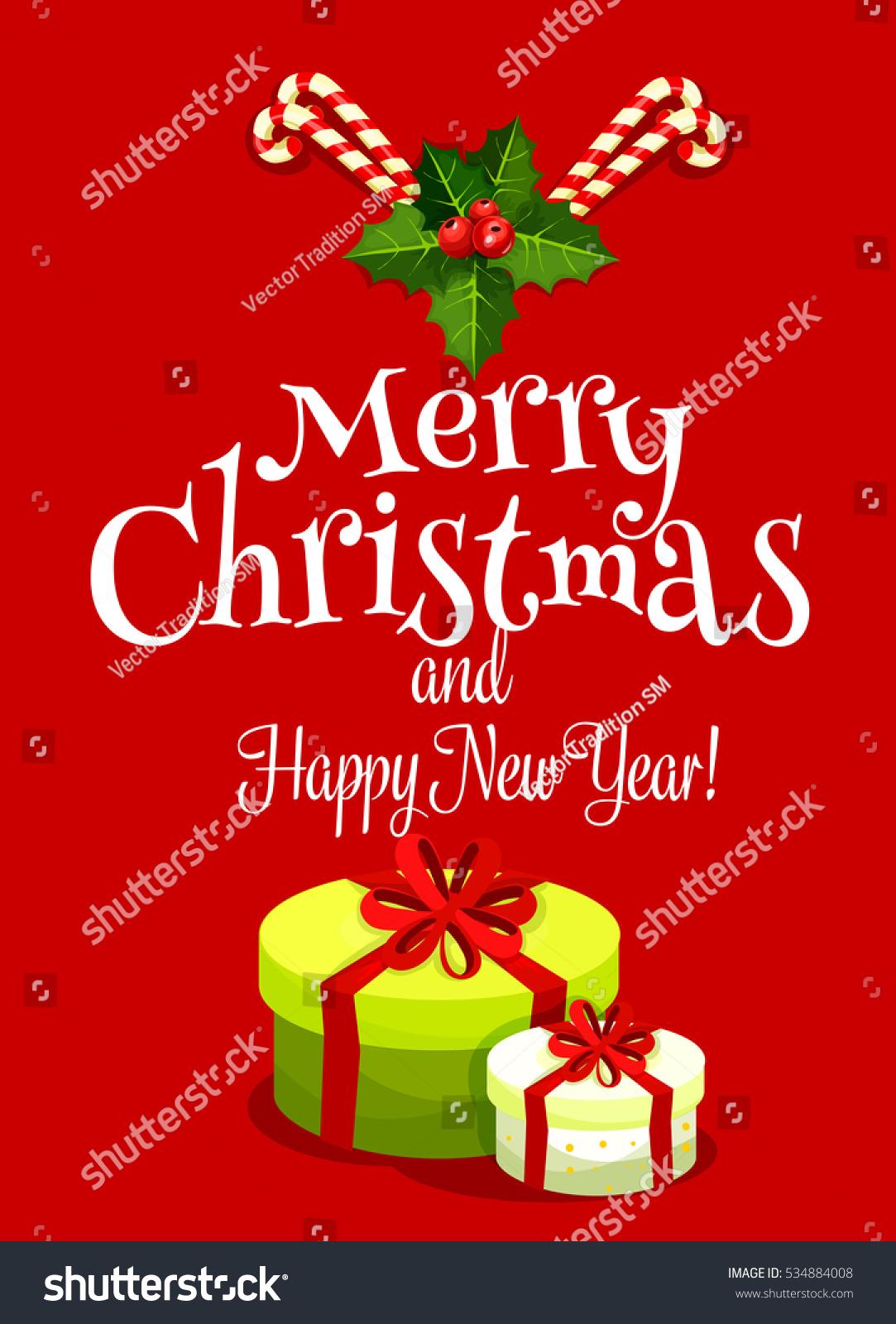 Christmas Day Greeting Card Gift Box Stock Illustration 534884008