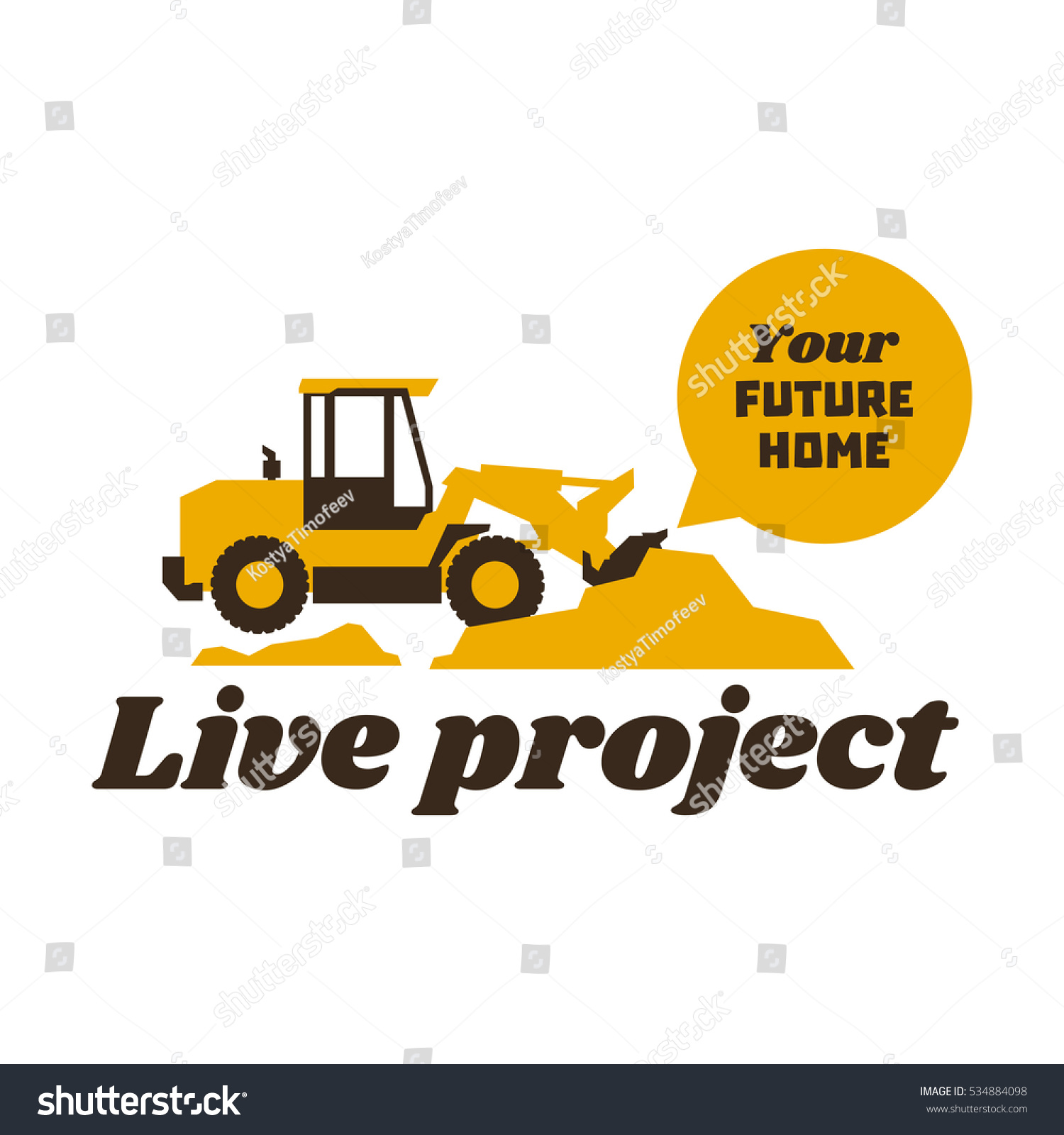 Logo Front Loader Construction Equipment Work Stock Vector ...