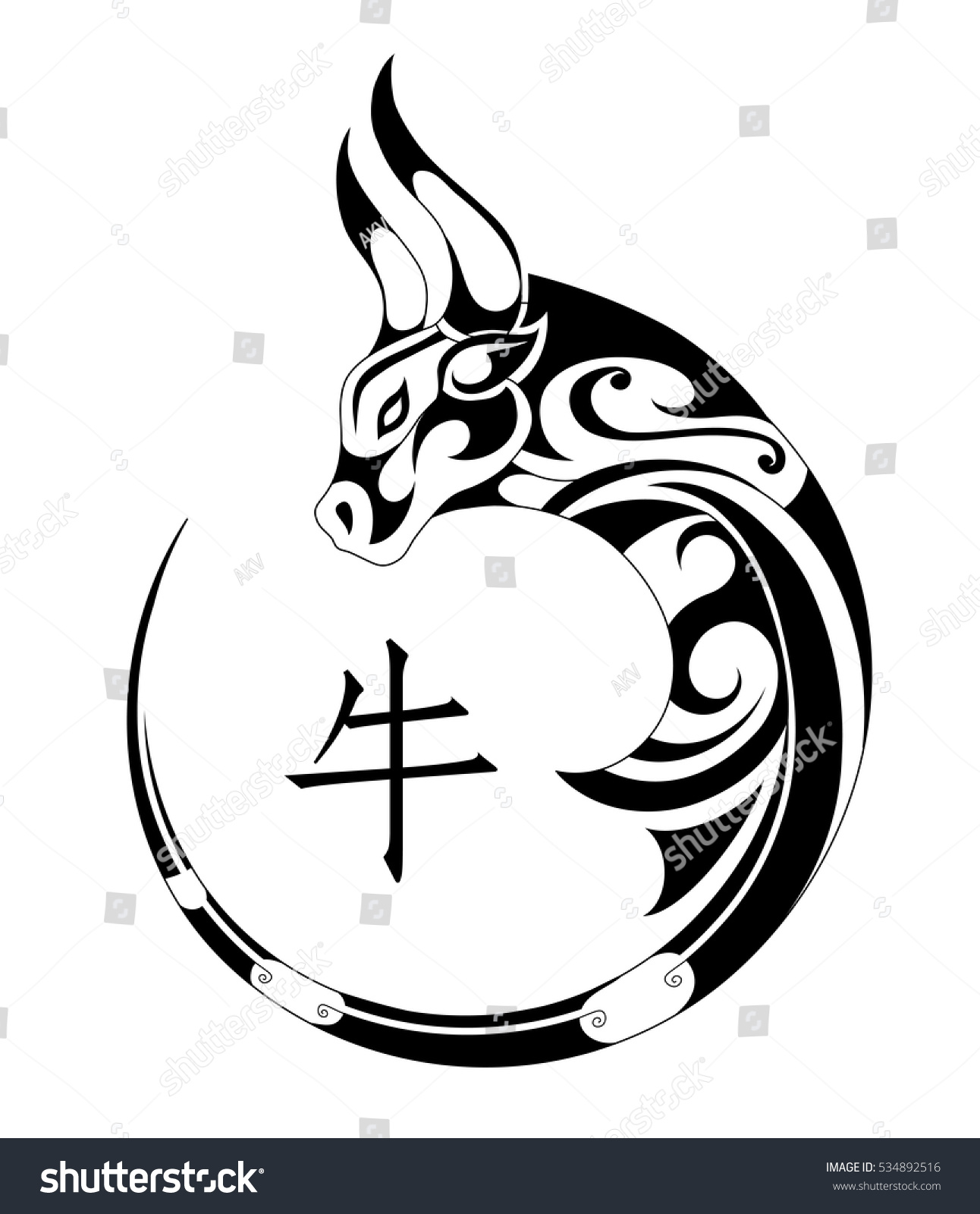 Ox Tribal Tattoo Chinese Zodiac Symbol Stock Vector Royalty Free