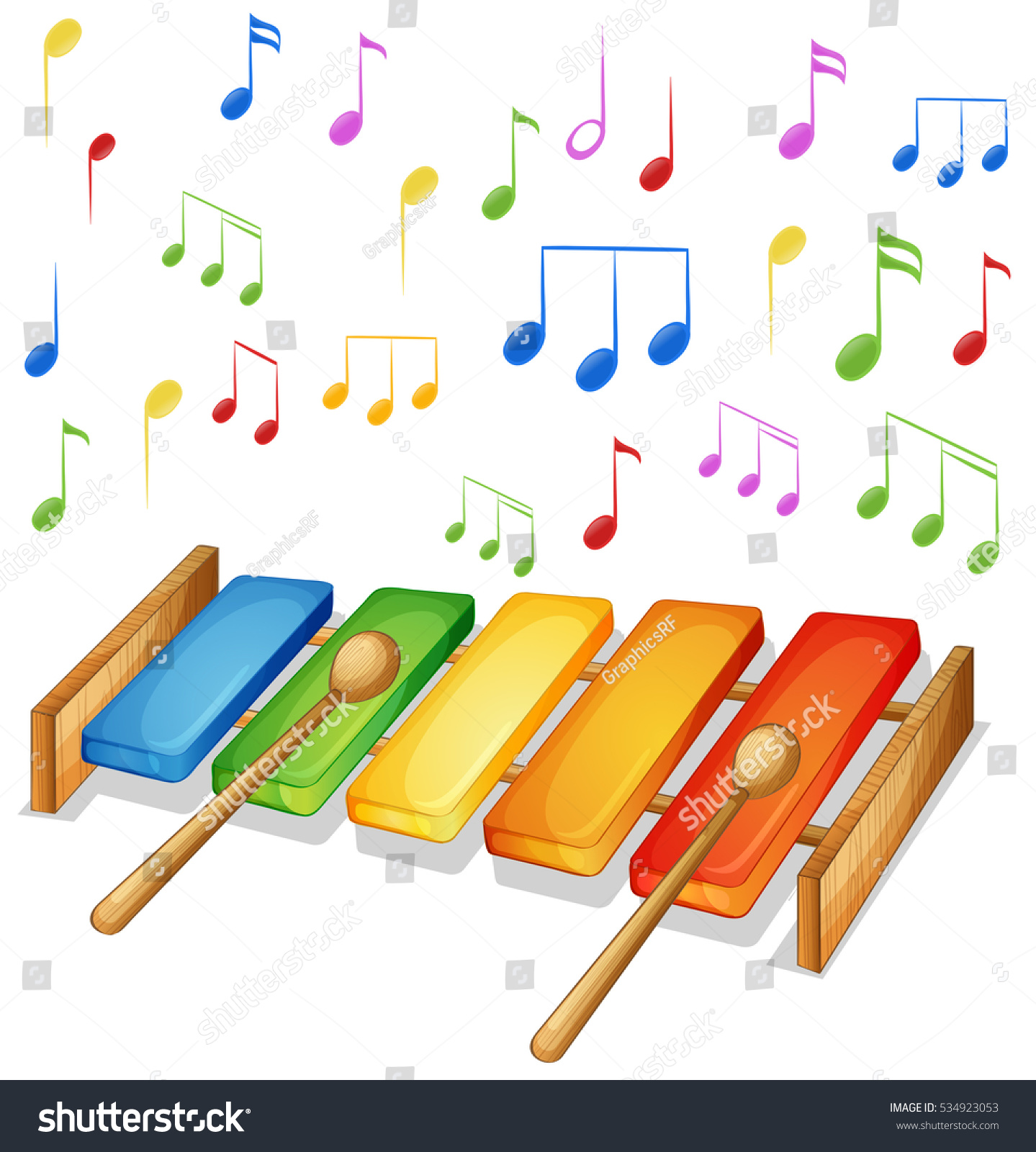 Xylophone Music Notes Background Illustration Stock Vector Royalty Diagram With