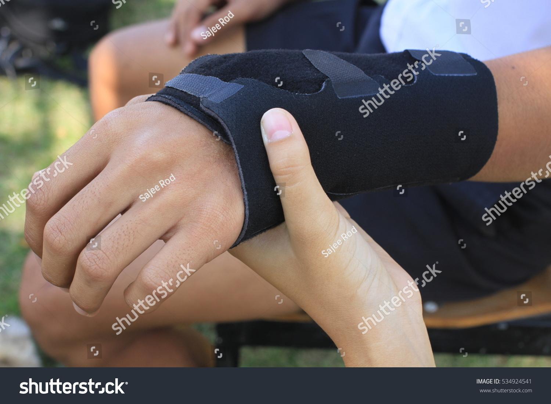Male Black Wrist Pain Elastic Bandage Stock Photo Edit Now 534924541