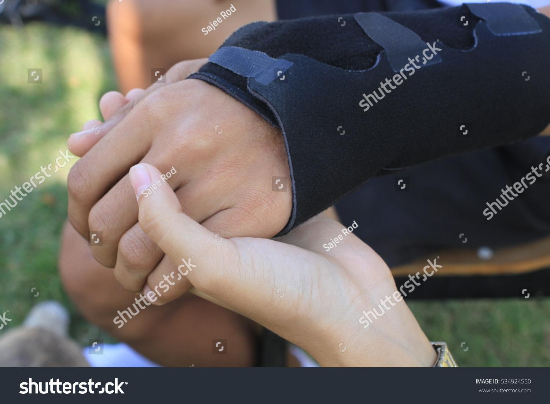 Male Black Wrist Pain Elastic Bandage Stock Photo Edit Now 534924550