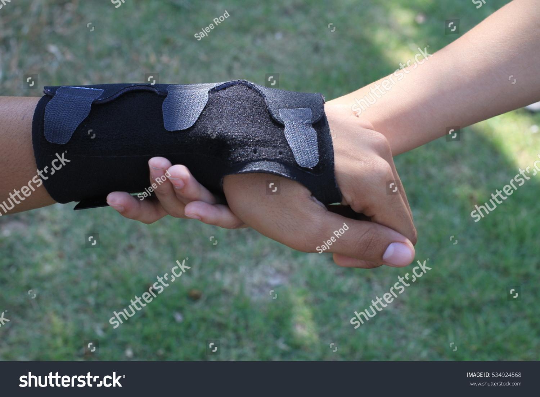 Male Black Wrist Pain Elastic Bandage Stock Photo Edit Now 534924568