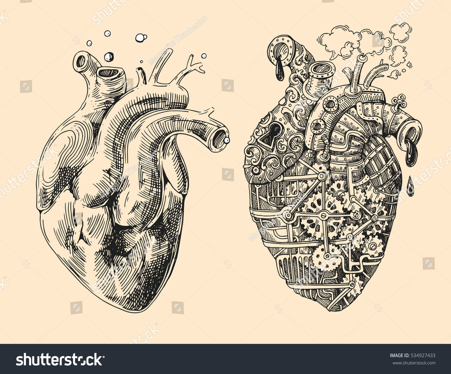 Illustration 2 Hearts Mechanical Alive Hand Stock Vector (Royalty ...