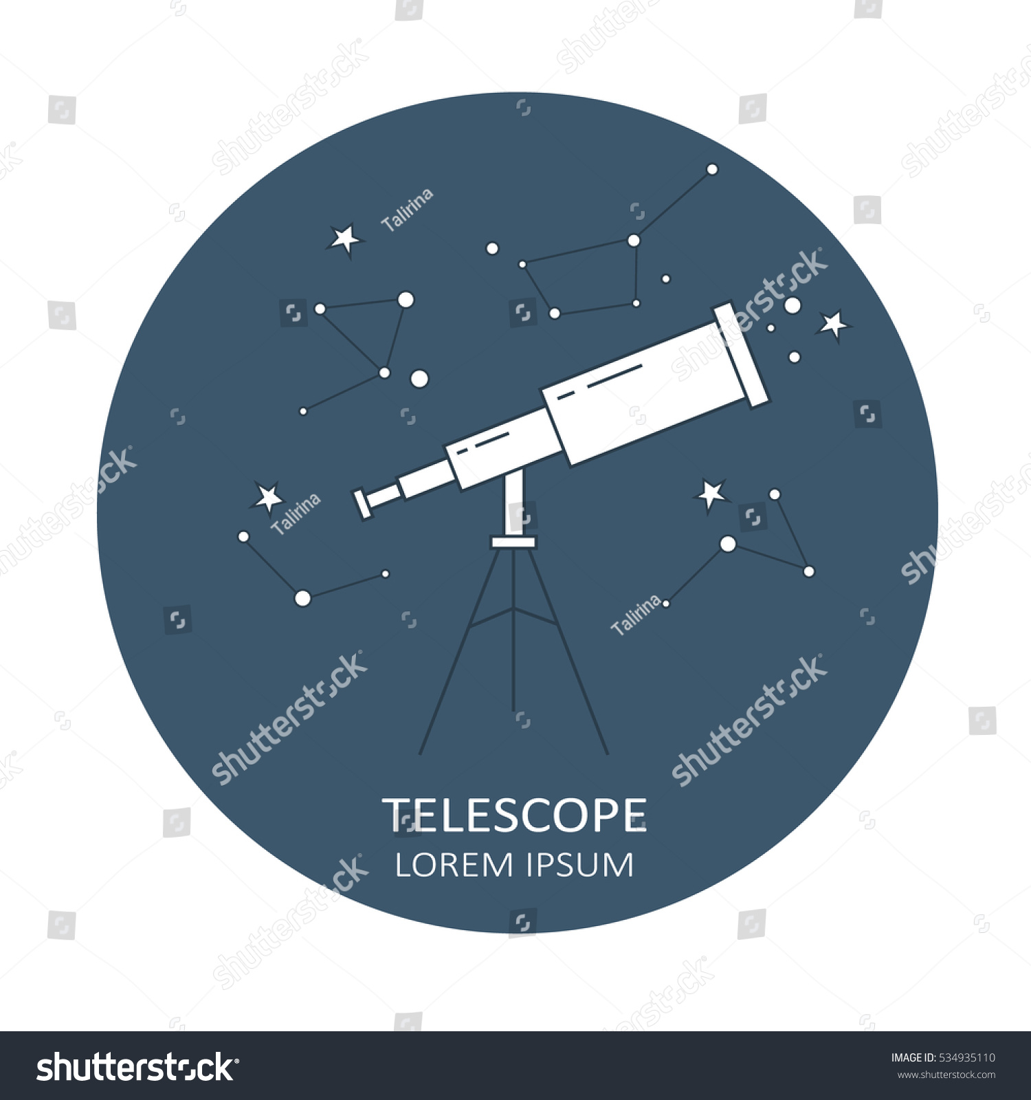 Simple Illustration Telescope Poster Design Navy Stock Vector