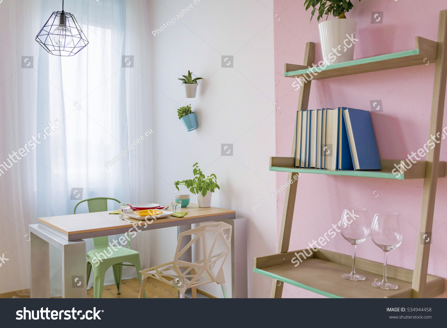 Cozy Dining Room Small Table Two Stock Photo 534944458