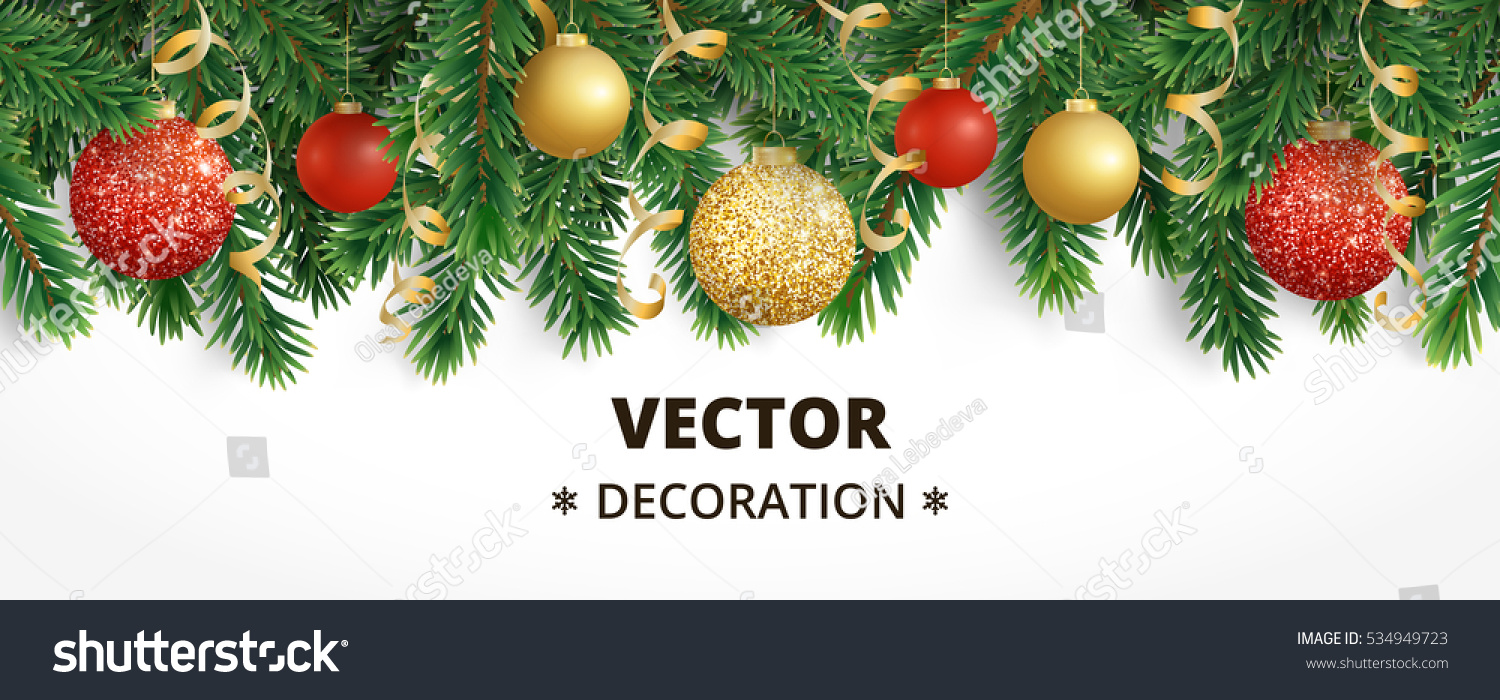 Horizontal banner with christmas tree garland and ornaments. Hanging gold and red balls and ribbons. Great for flyers, posters, headers. Vector illustration #534949723