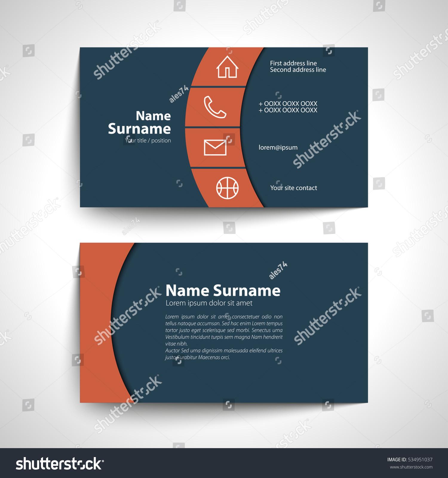 Modern Simple Business Card Set Template Stock Vector 534951037 ...