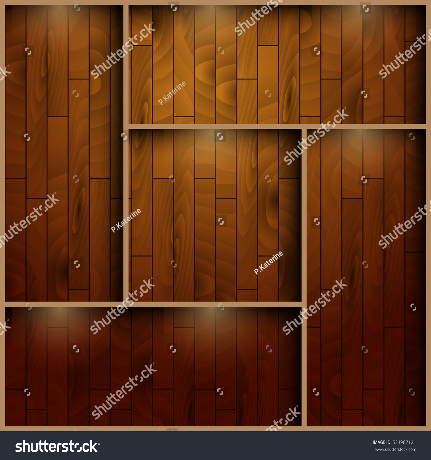 Interior wooden shelves free vector - Wooden Vector Shelf In Dark Brown Colors With Light Projector For Gallery Library