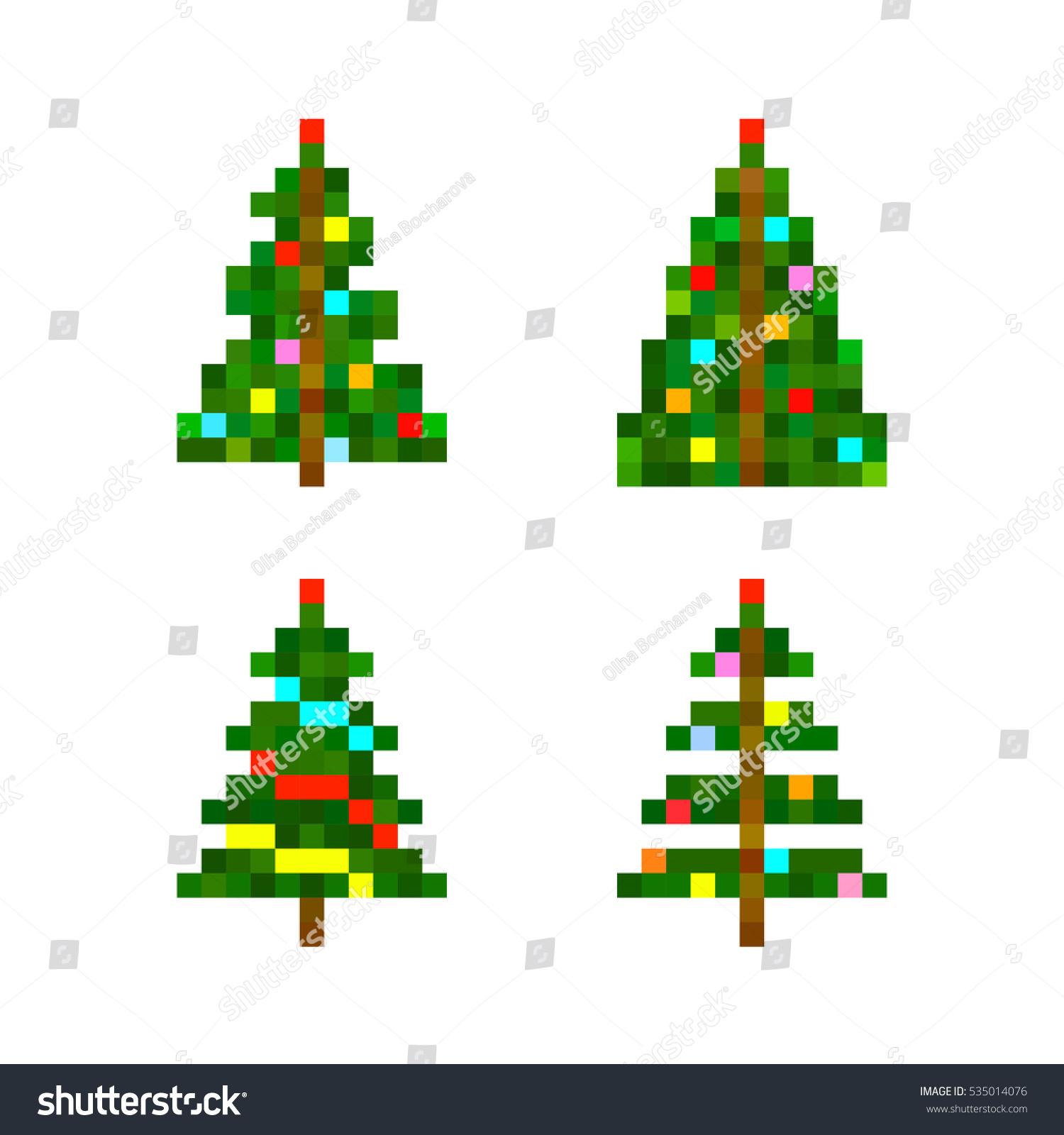 vector set four pixel art christmas stock vector 535014076