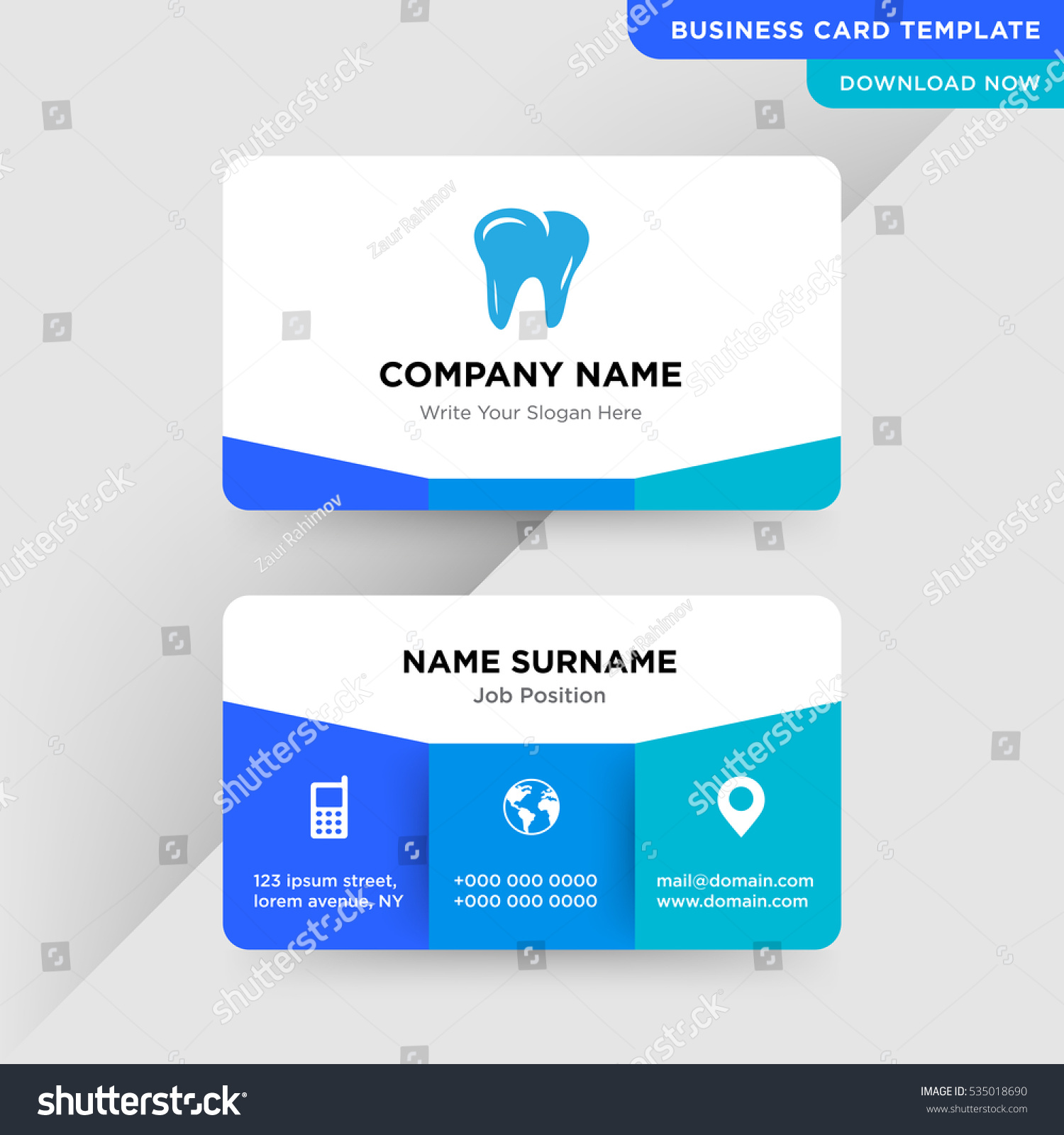 Blue Cyan Dentist Business Card Vector Stock Vector