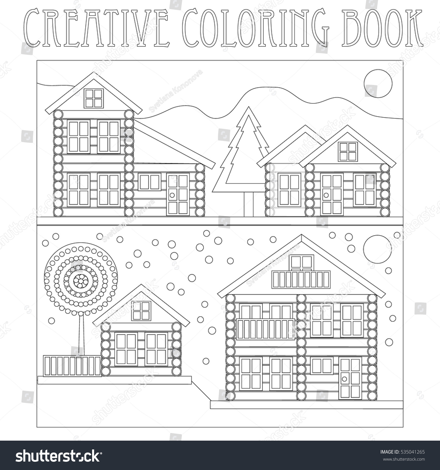 Creative Coloring Book Log Cabins Winter Stock Photo (Photo, Vector ...
