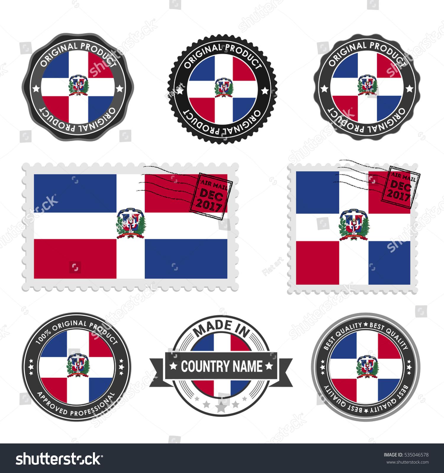 Vector Set Made Dominican Republic Labels Stock Vector Hd Royalty