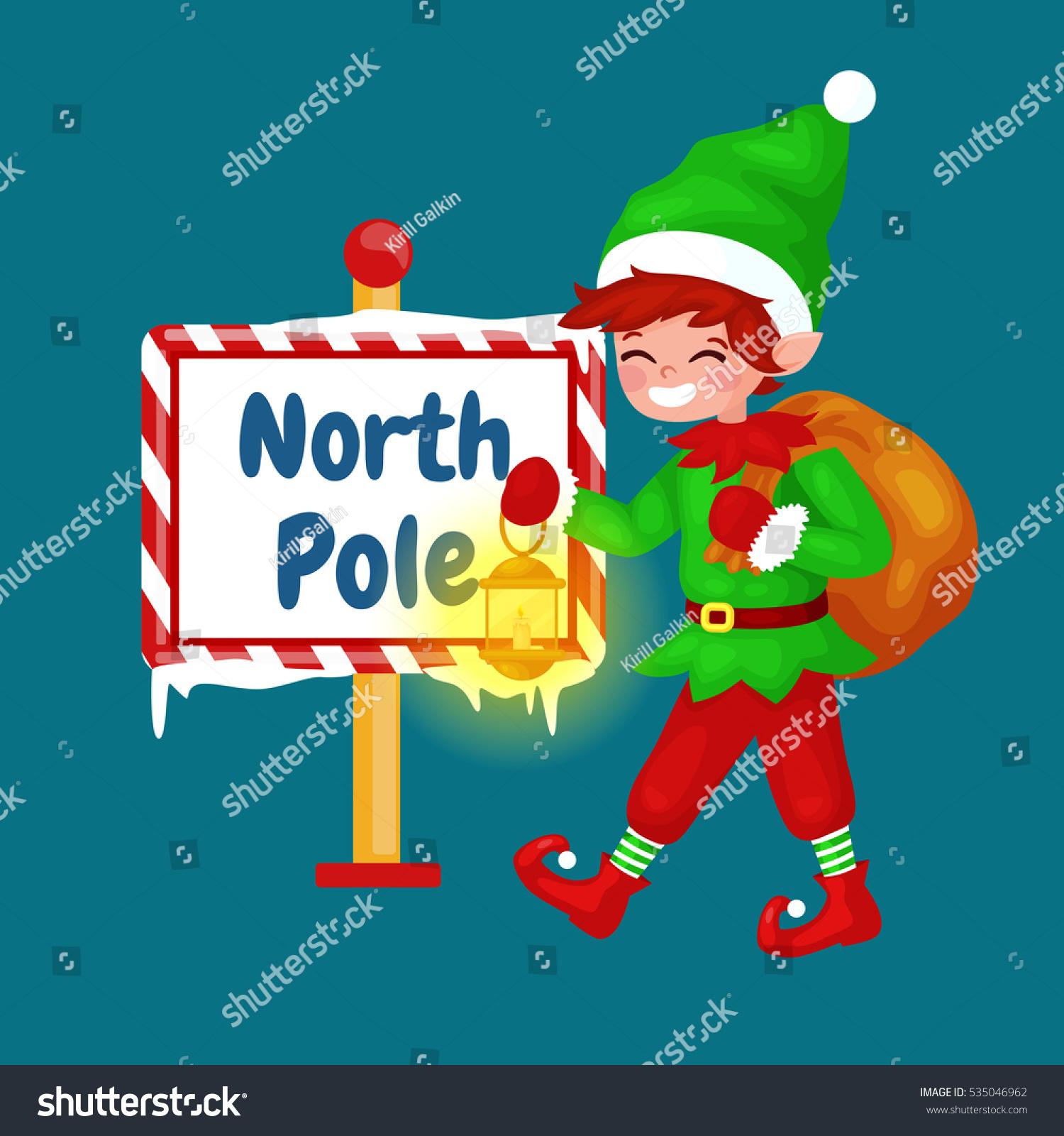 Vector Christmas Illustration Elf North Pole Stock Vector (Royalty ...