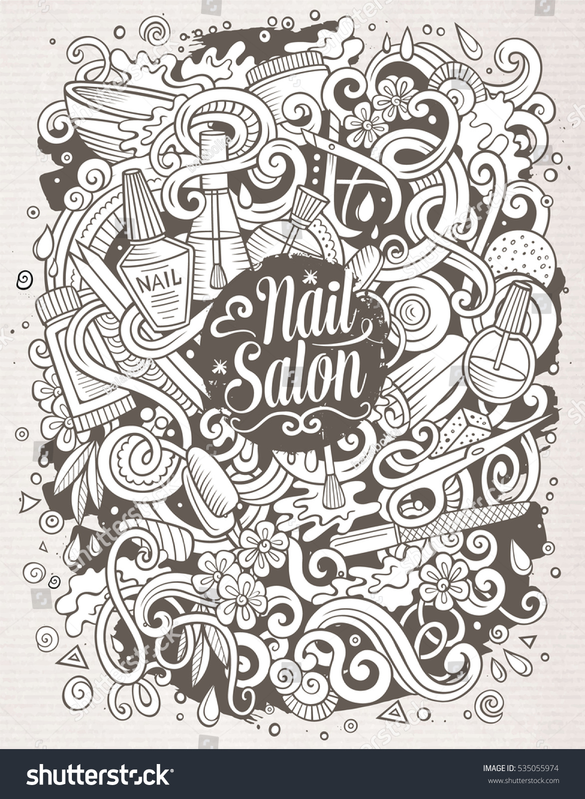 Cartoon Cute Doodles Hand Drawn Nail Stock Vector 535055974 ...