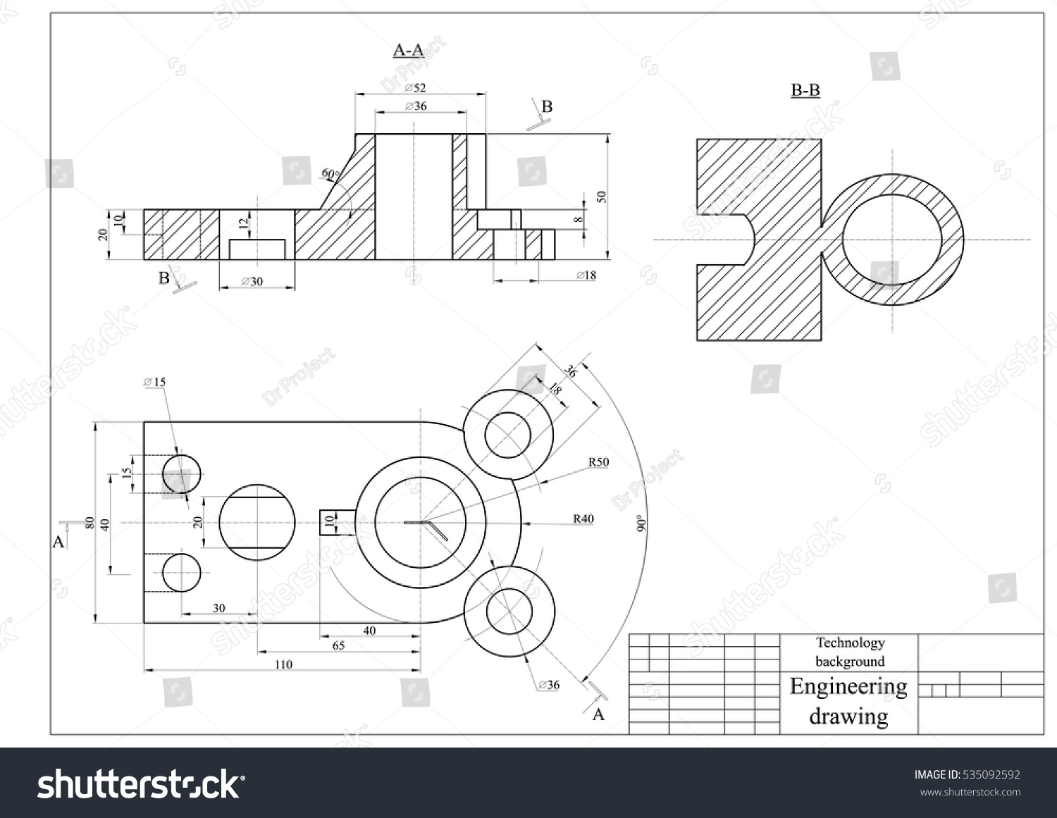 Engineering drawing mechanics blueprints vector technology for Engineering blueprints