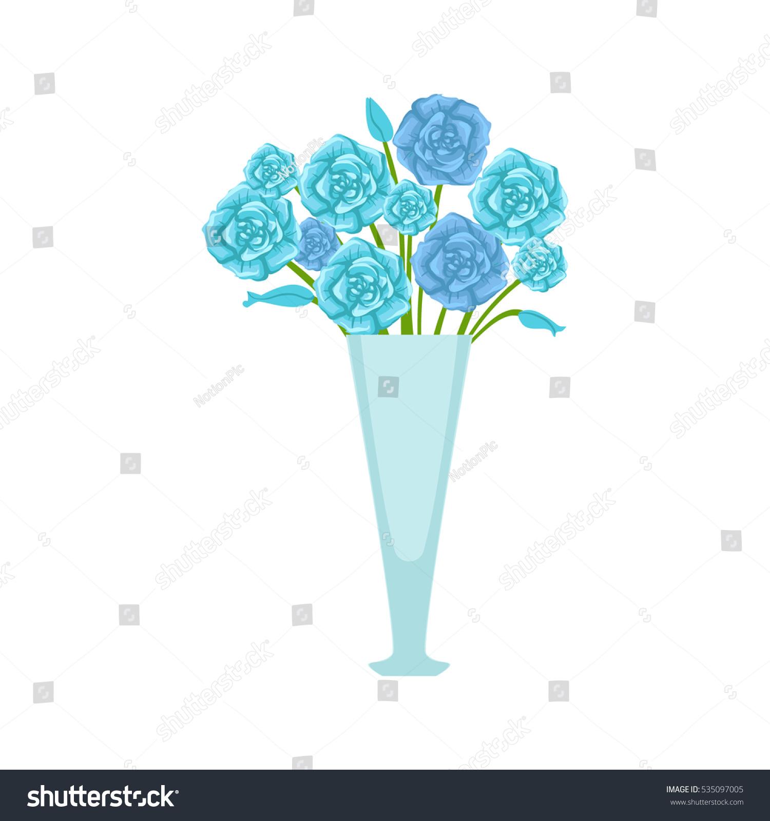 Blue Roses Flower Bouquet Tall Flower Stock Vector 535097005 ...