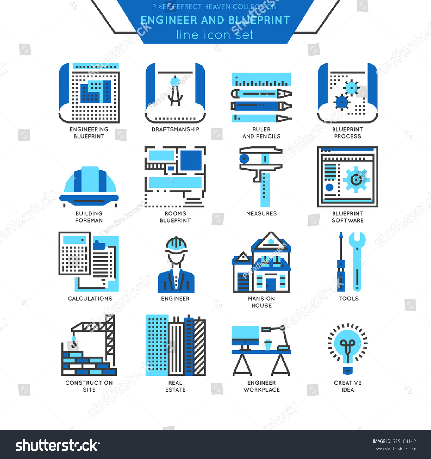 Blueprint And Engineer Line Icon Color Set  Draftmanship  Tools For  Engineering  Software And. Blueprint Engineer Line Icon Color Set Stock Vector 535104142