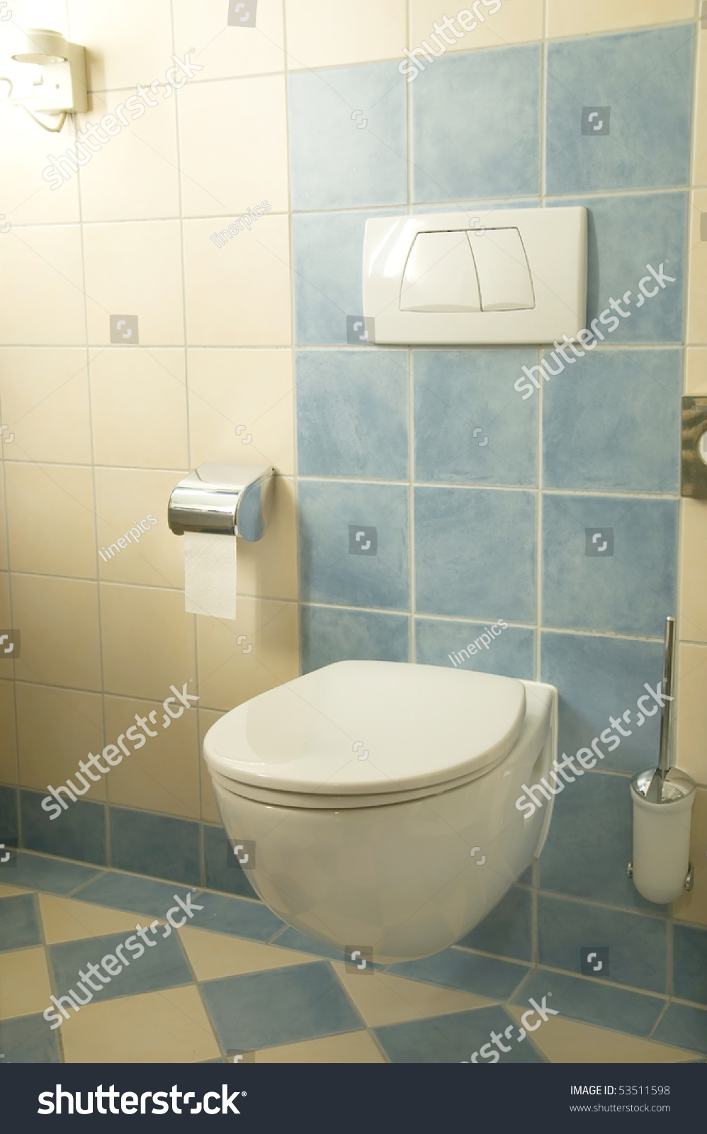 Newly Renovated Bathroom With Terracotta Tiles Stock Photo