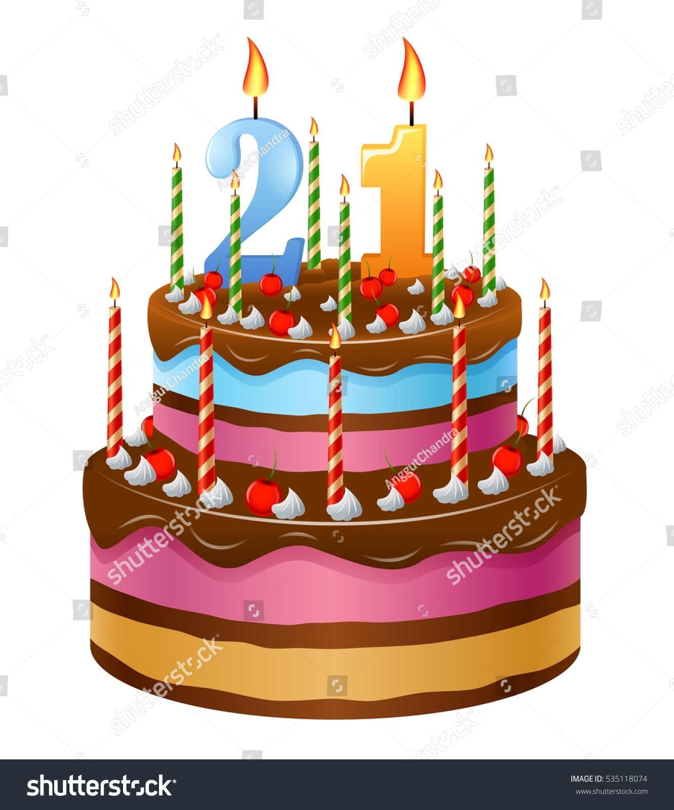 Happy Birthday Cake 21 Stock Vector Royalty Free 535118074