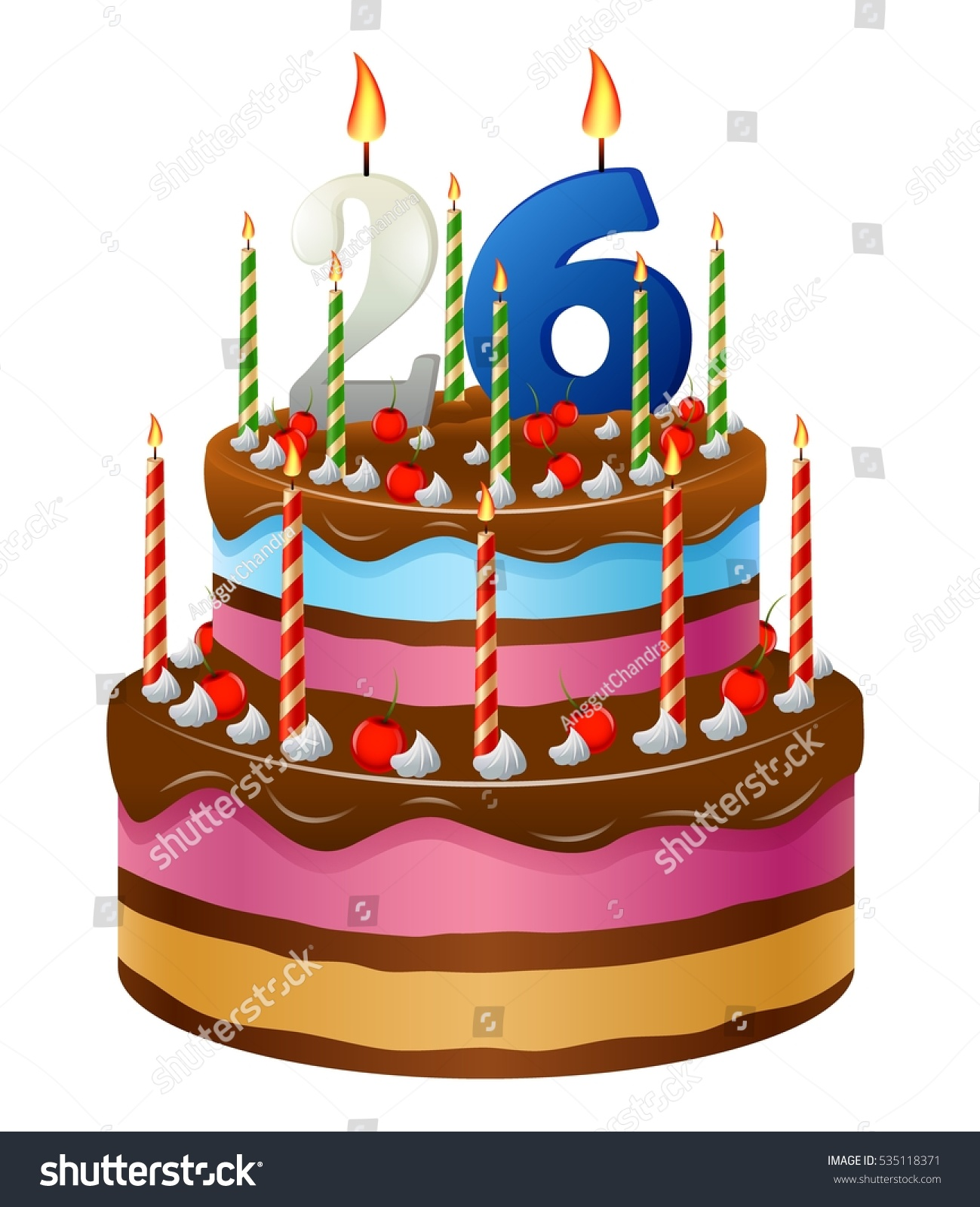 Happy Birthday Cake 26 Stock Vector Royalty Free 535118371