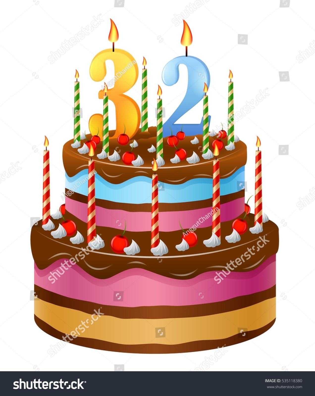 Happy Birthday Cake 32 Stock Vector Royalty Free 535118380